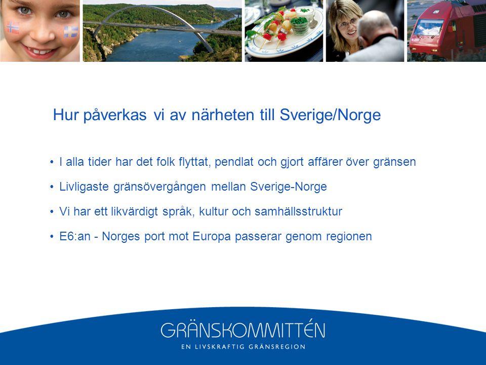 Hur påverkas vi av närheten till Sverige/Norge I alla tider har det folk flyttat, pendlat och gjort affärer över gränsen Livligaste gränsövergången mellan Sverige-Norge Vi har ett likvärdigt språk, kultur och samhällsstruktur E6:an - Norges port mot Europa passerar genom regionen