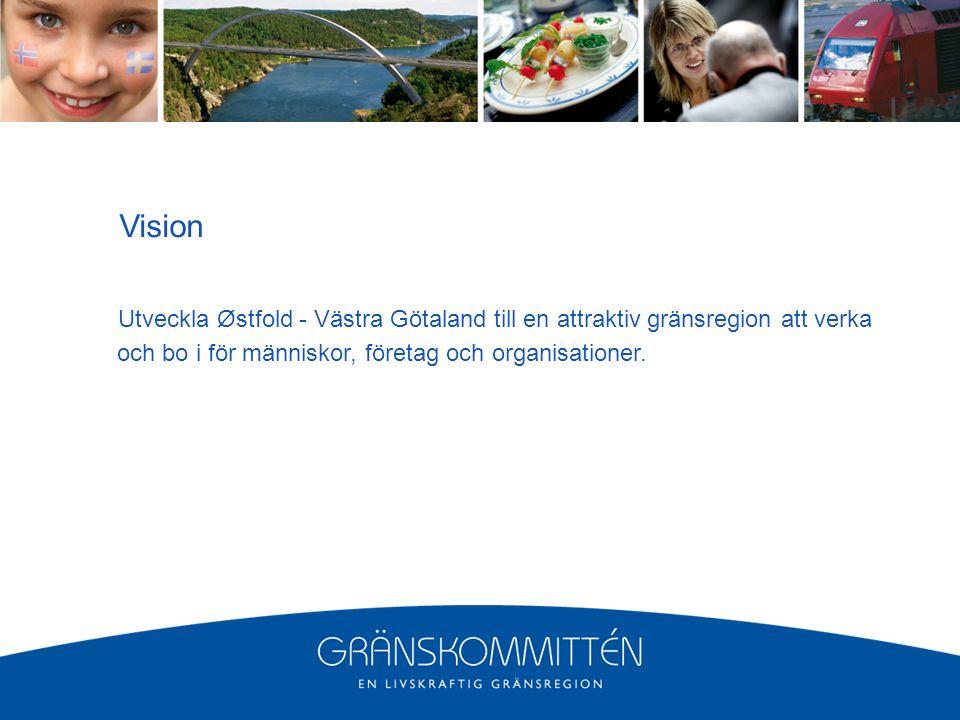 Vision Utveckla Østfold - Västra Götaland till en attraktiv gränsregion att verka och bo i för människor, företag och organisationer.