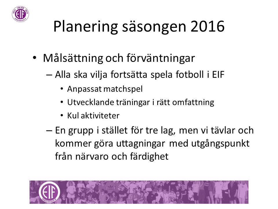 Planering säsongen 2016 Målsättning och förväntningar – Alla ska vilja fortsätta spela fotboll i EIF Anpassat matchspel Utvecklande träningar i rätt omfattning Kul aktiviteter – En grupp i stället för tre lag, men vi tävlar och kommer göra uttagningar med utgångspunkt från närvaro och färdighet