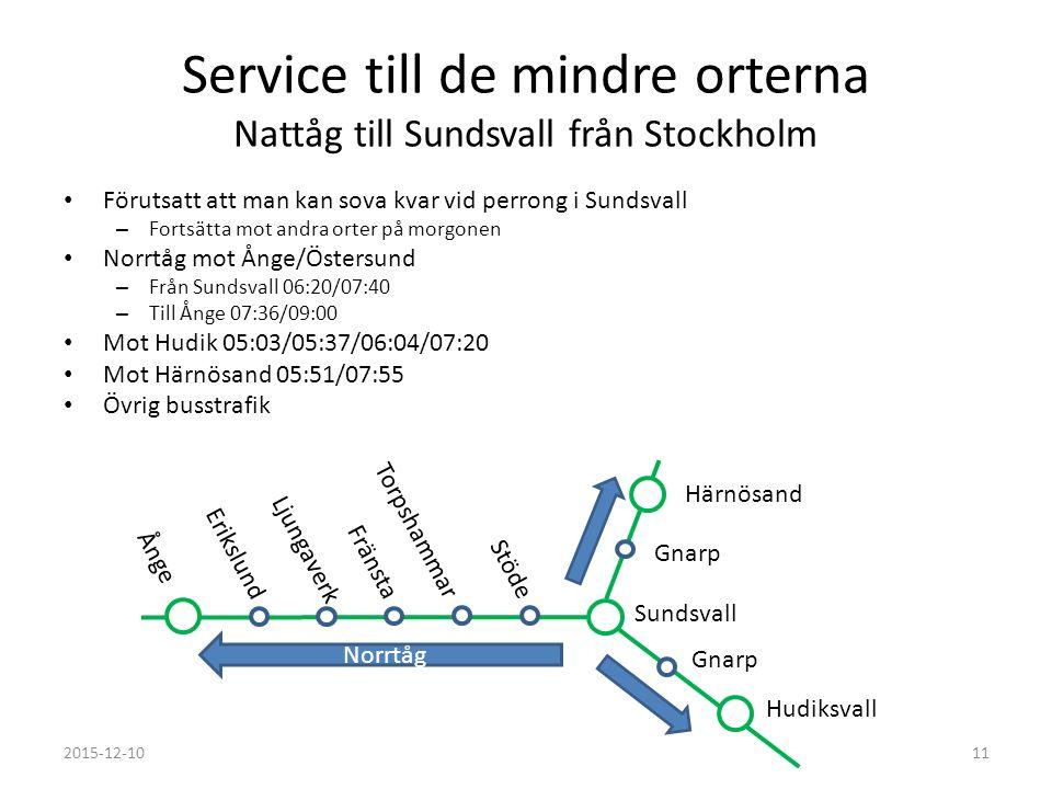 Service till de mindre orterna Nattåg till Sundsvall från Stockholm Förutsatt att man kan sova kvar vid perrong i Sundsvall – Fortsätta mot andra orte