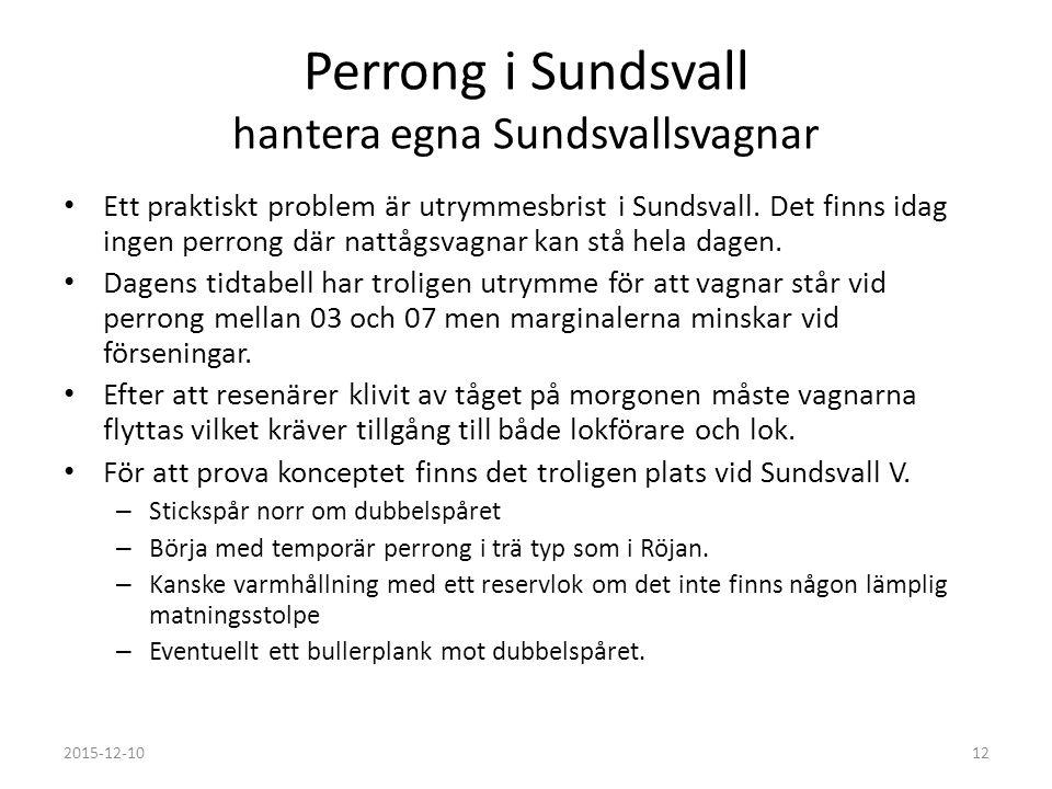 Perrong i Sundsvall hantera egna Sundsvallsvagnar Ett praktiskt problem är utrymmesbrist i Sundsvall. Det finns idag ingen perrong där nattågsvagnar k