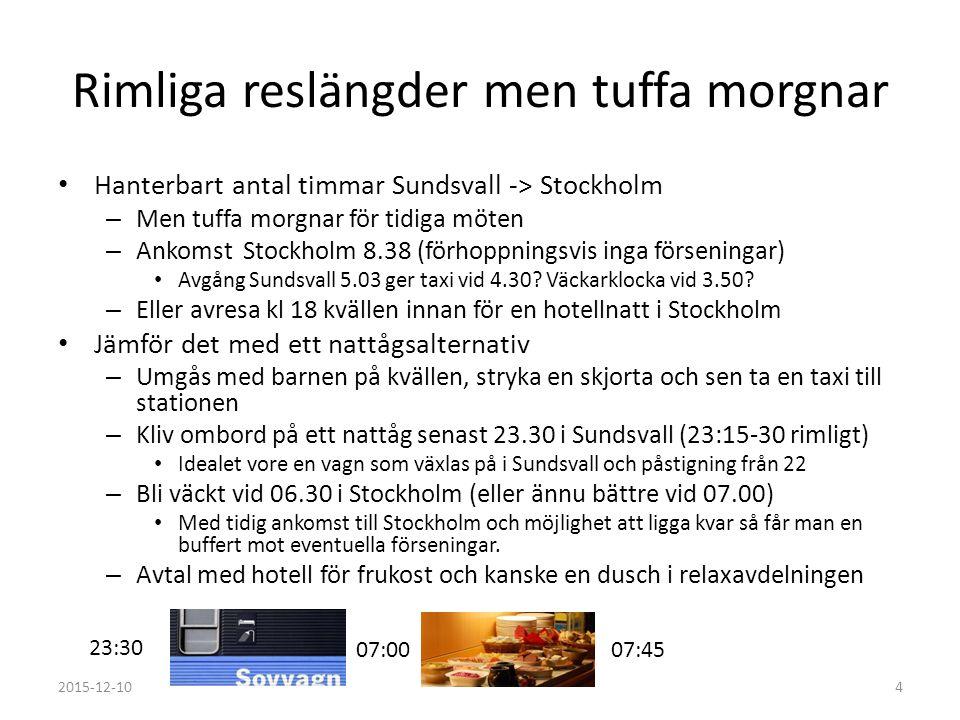 Folk åker redan tåg Många åker dagtåg från/till Sundsvall så man behöver inte sälja in att man ska åka tåg Tidiga morgnar i Stockholm kräver fakiravgångar eller resa kvällen innan med hotellövernattning.