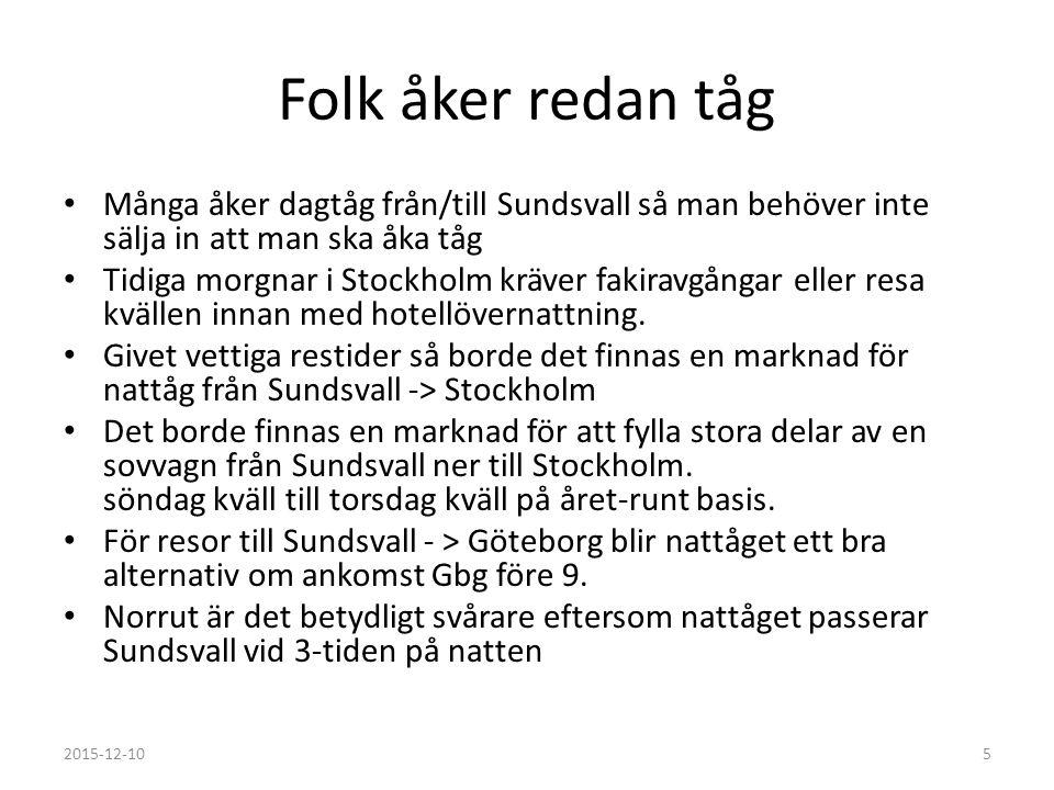 Folk åker redan tåg Många åker dagtåg från/till Sundsvall så man behöver inte sälja in att man ska åka tåg Tidiga morgnar i Stockholm kräver fakiravgå