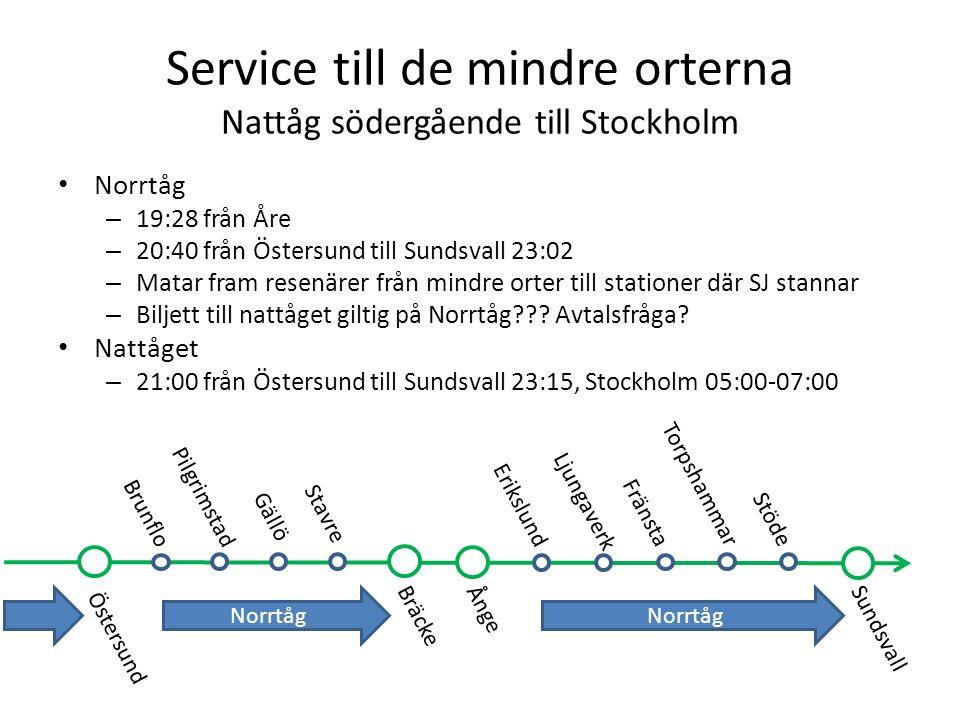 Service till de mindre orterna Nattåg södergående till Stockholm Norrtåg – 19:28 från Åre – 20:40 från Östersund till Sundsvall 23:02 – Matar fram res