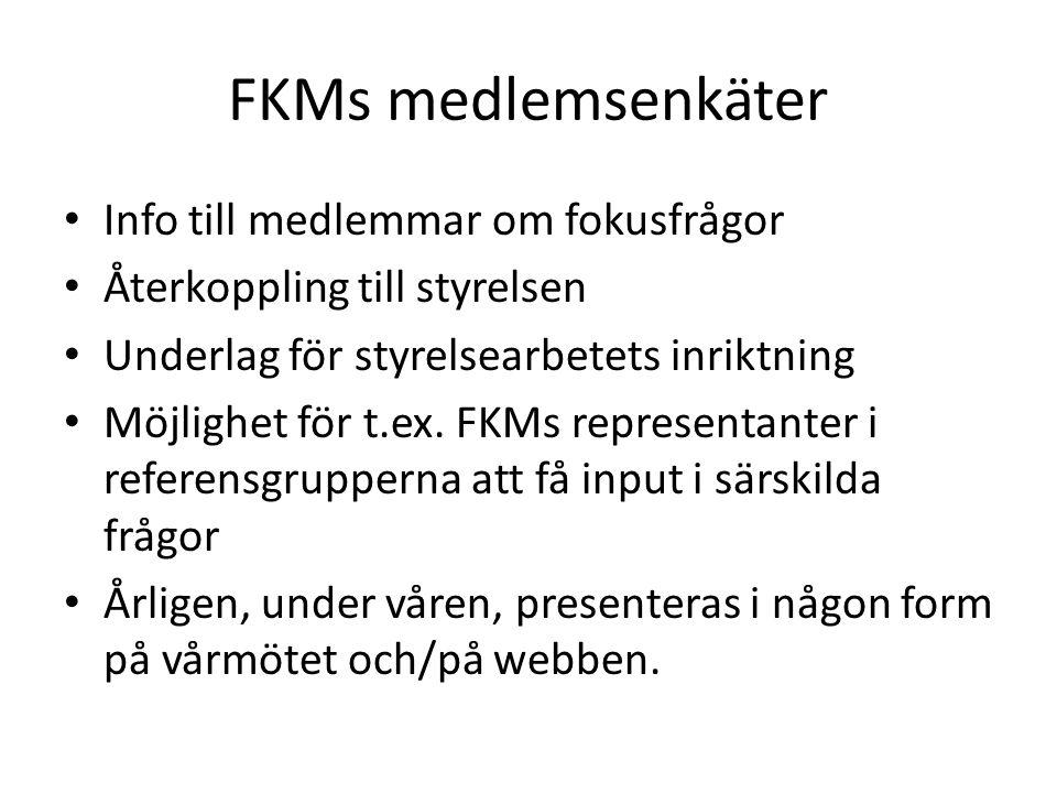 FKMs medlemsenkäter Info till medlemmar om fokusfrågor Återkoppling till styrelsen Underlag för styrelsearbetets inriktning Möjlighet för t.ex.