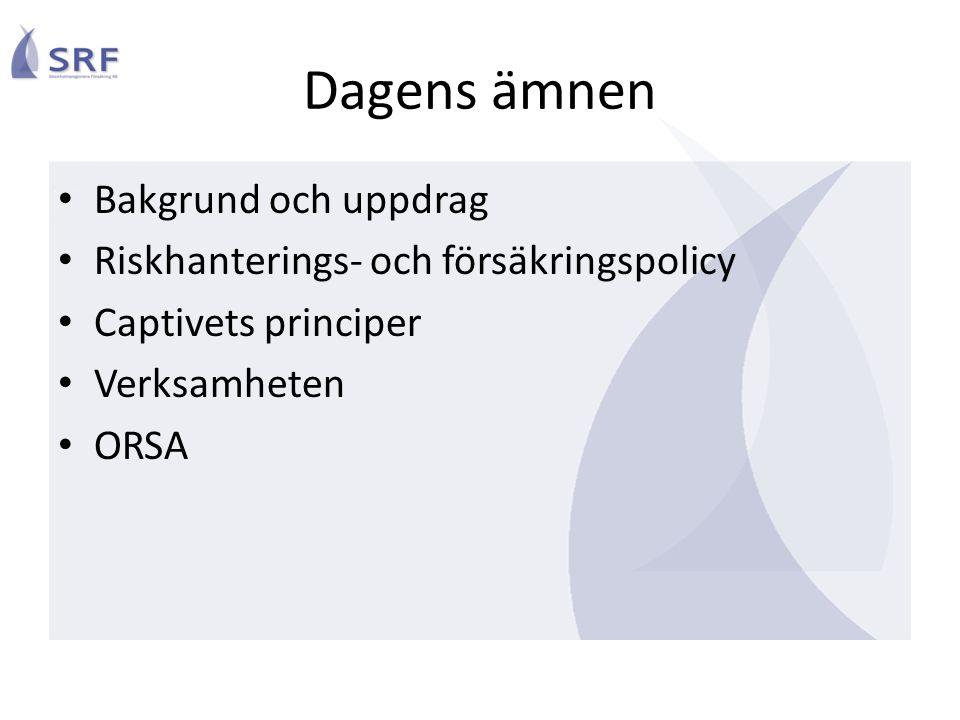 Dagens ämnen Bakgrund och uppdrag Riskhanterings- och försäkringspolicy Captivets principer Verksamheten ORSA