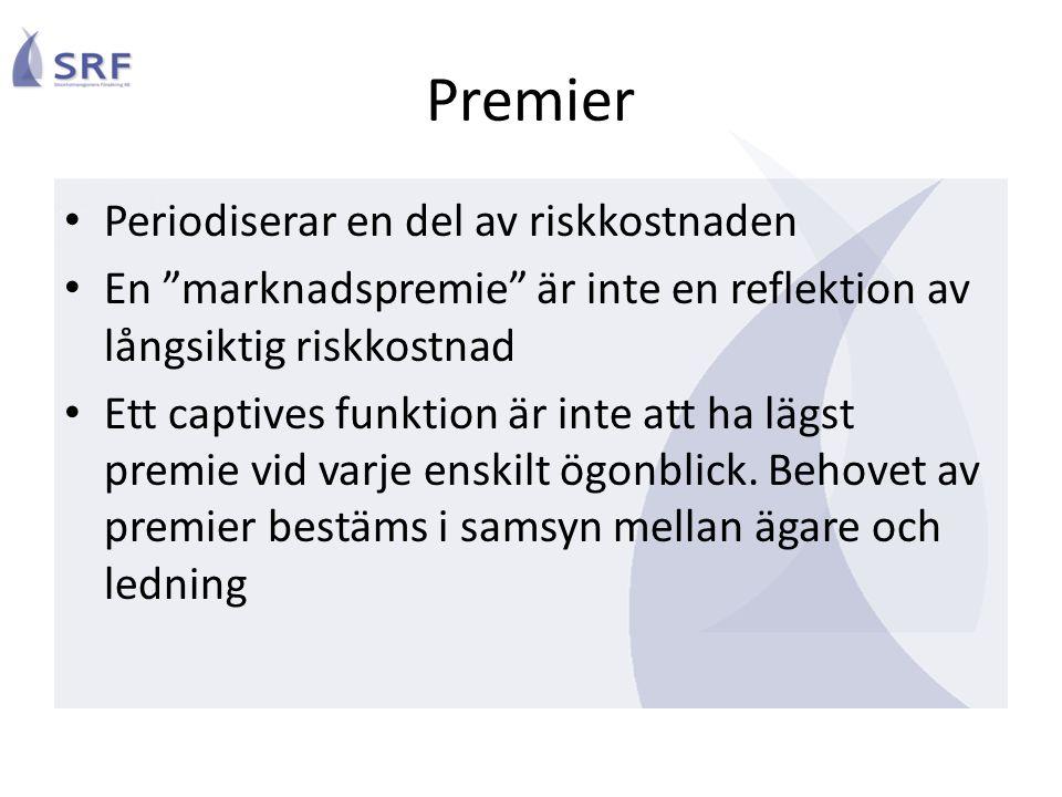 Premier Periodiserar en del av riskkostnaden En marknadspremie är inte en reflektion av långsiktig riskkostnad Ett captives funktion är inte att ha lägst premie vid varje enskilt ögonblick.