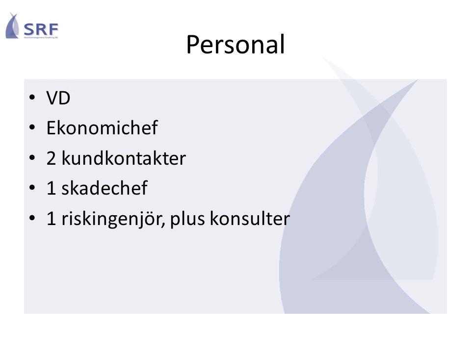 Personal VD Ekonomichef 2 kundkontakter 1 skadechef 1 riskingenjör, plus konsulter