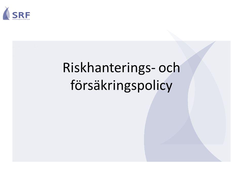 Riskhanteringsprocessen Integrerad i den ordinarie ledningsprocessen Ledning = fullmäktige och styrelse samt nämnder Drivas strukturerat i alla delar av den kommunala verksamheten Konsolideras uppåt beroende på resp.