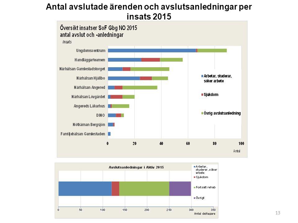 13 Antal avslutade ärenden och avslutsanledningar per insats 2015