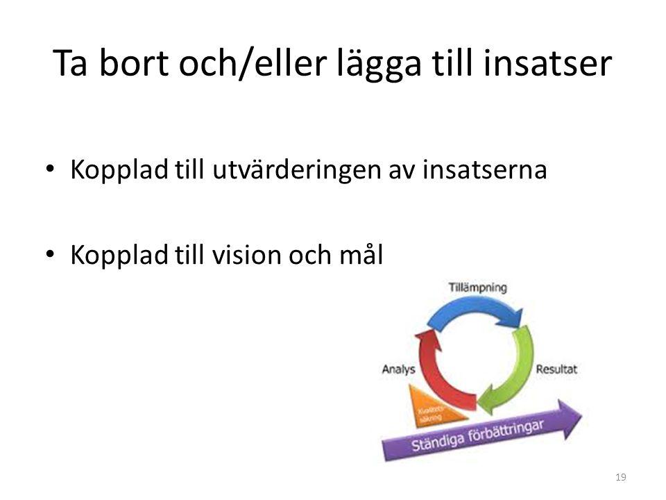 Ta bort och/eller lägga till insatser 19 Kopplad till utvärderingen av insatserna Kopplad till vision och mål