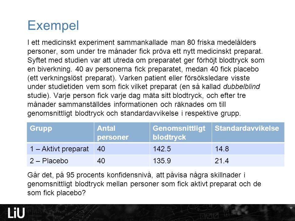 17 Exempel I ett medicinskt experiment sammankallade man 80 friska medelålders personer, som under tre månader fick pröva ett nytt medicinskt preparat