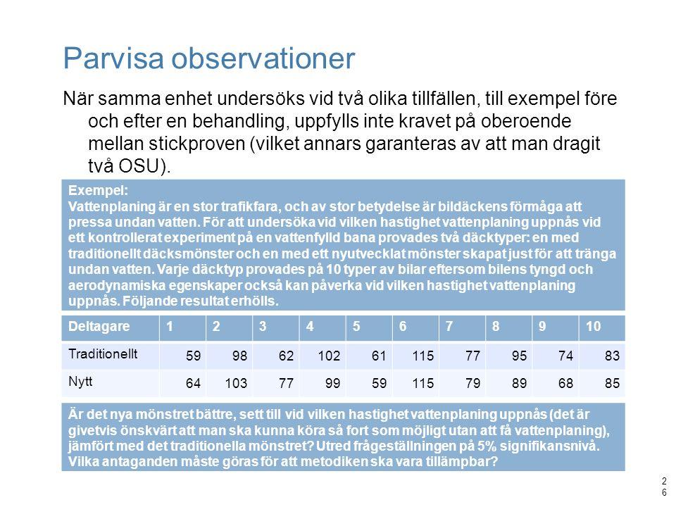 Parvisa observationer När samma enhet undersöks vid två olika tillfällen, till exempel före och efter en behandling, uppfylls inte kravet på oberoende