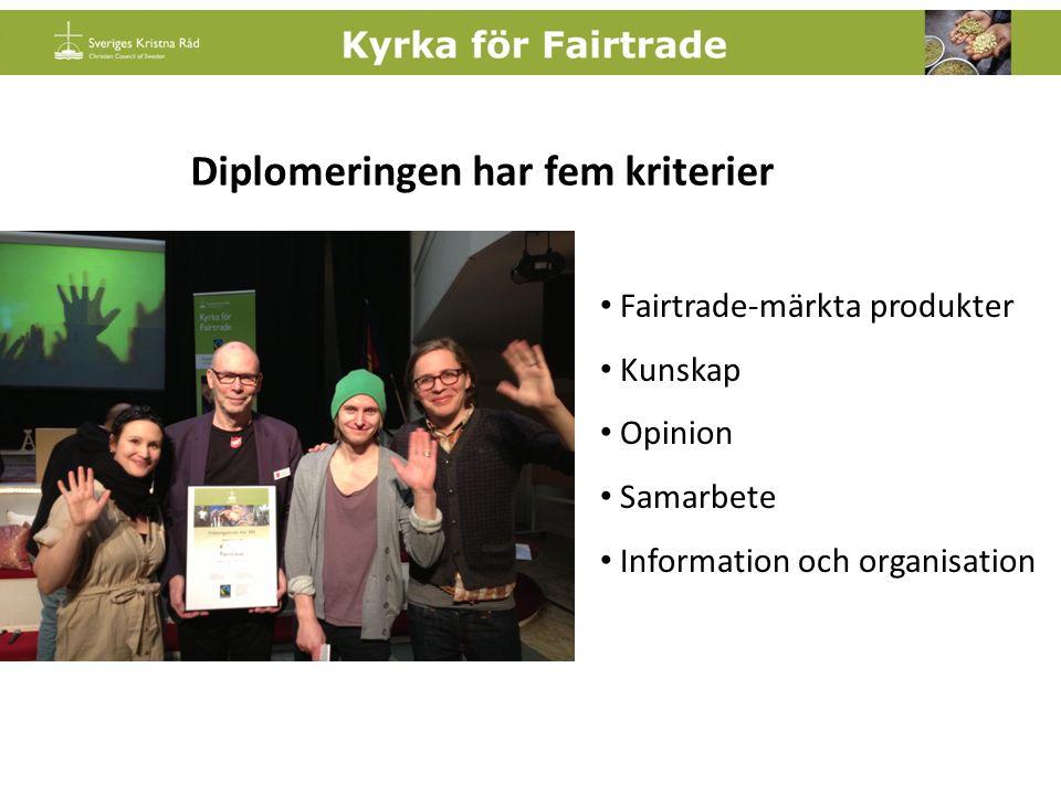 Fairtrade-märkta produkter Kunskap Opinion Samarbete Information och organisation Diplomeringen har fem kriterier