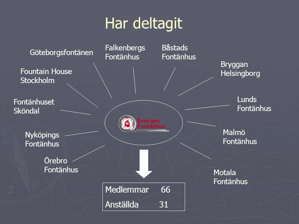 Har deltagit Göteborgsfontänen Fountain House Stockholm Malmö Fontänhus Falkenbergs Fontänhus Lunds Fontänhus Bryggan Helsingborg Örebro Fontänhus Bås