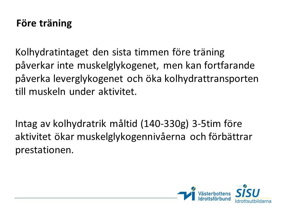 Före träning Kolhydratintaget den sista timmen före träning påverkar inte muskelglykogenet, men kan fortfarande påverka leverglykogenet och öka kolhyd