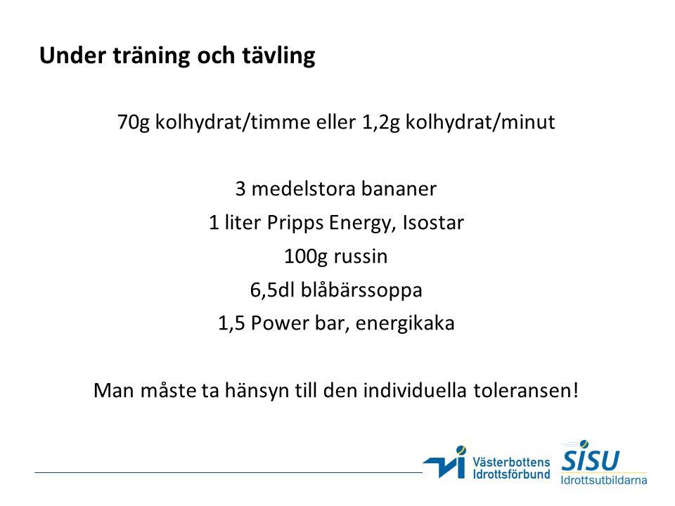 Under träning och tävling 70g kolhydrat/timme eller 1,2g kolhydrat/minut 3 medelstora bananer 1 liter Pripps Energy, Isostar 100g russin 6,5dl blåbärs