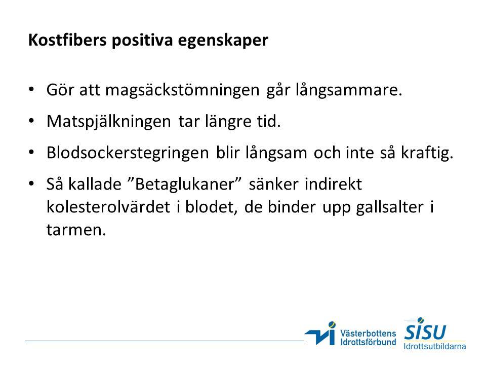 Kostfibers positiva egenskaper Gör att magsäckstömningen går långsammare.