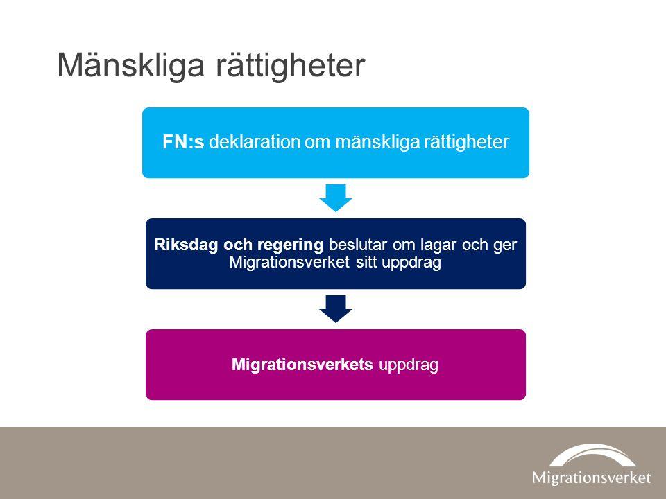 Mänskliga rättigheter FN:s deklaration om mänskliga rättigheter Riksdag och regering beslutar om lagar och ger Migrationsverket sitt uppdrag Migrationsverkets uppdrag