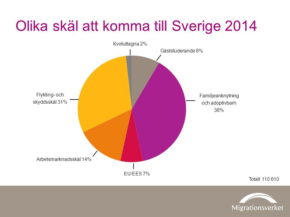 Olika skäl att komma till Sverige 2014 Kvotuttagna 2% Gäststuderande 8% Familjeanknytning och adoptivbarn 38% EU/EES 7% Arbetsmarknadsskäl 14% Flykting- och skyddsskäl 31% Totalt 110 610
