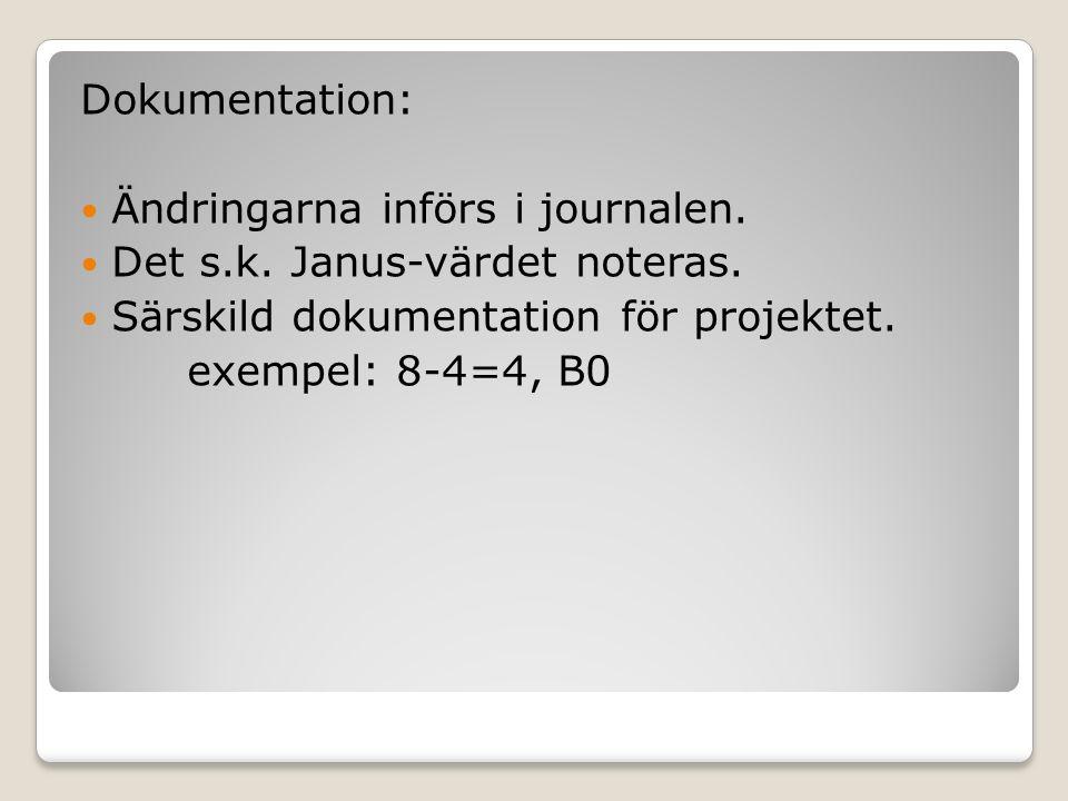 Dokumentation: Ändringarna införs i journalen. Det s.k. Janus-värdet noteras. Särskild dokumentation för projektet. exempel: 8-4=4, B0