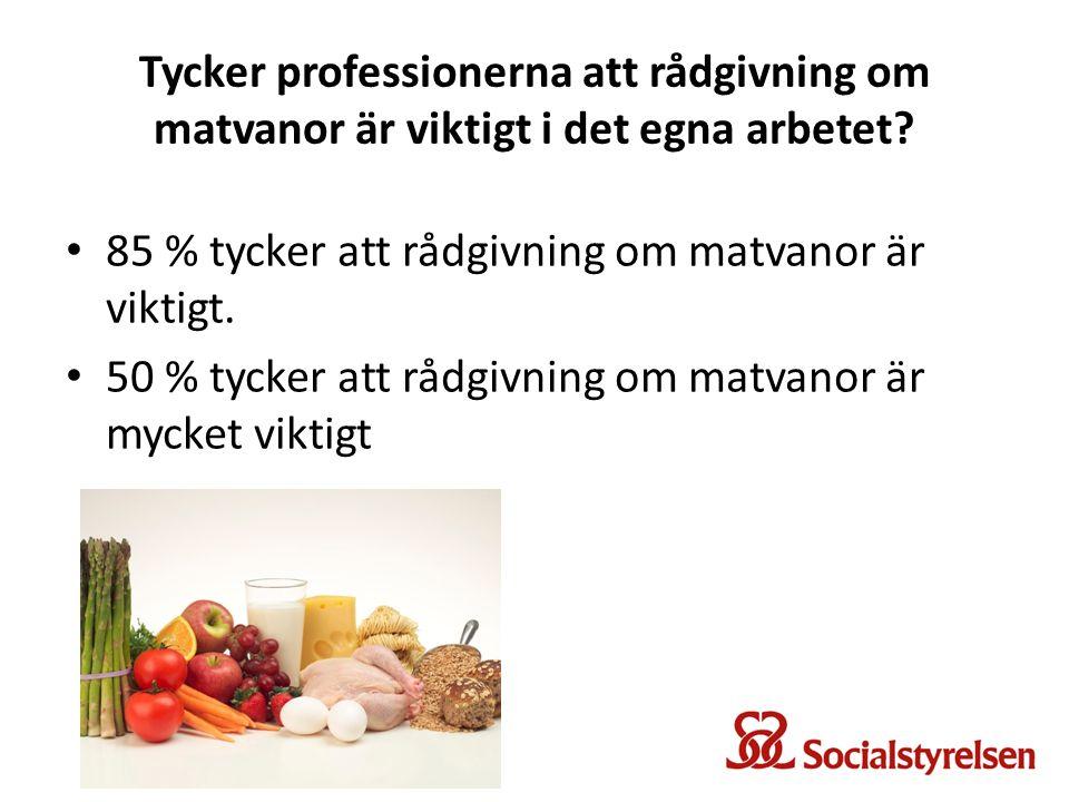 Tycker professionerna att rådgivning om matvanor är viktigt i det egna arbetet? 85 % tycker att rådgivning om matvanor är viktigt. 50 % tycker att råd