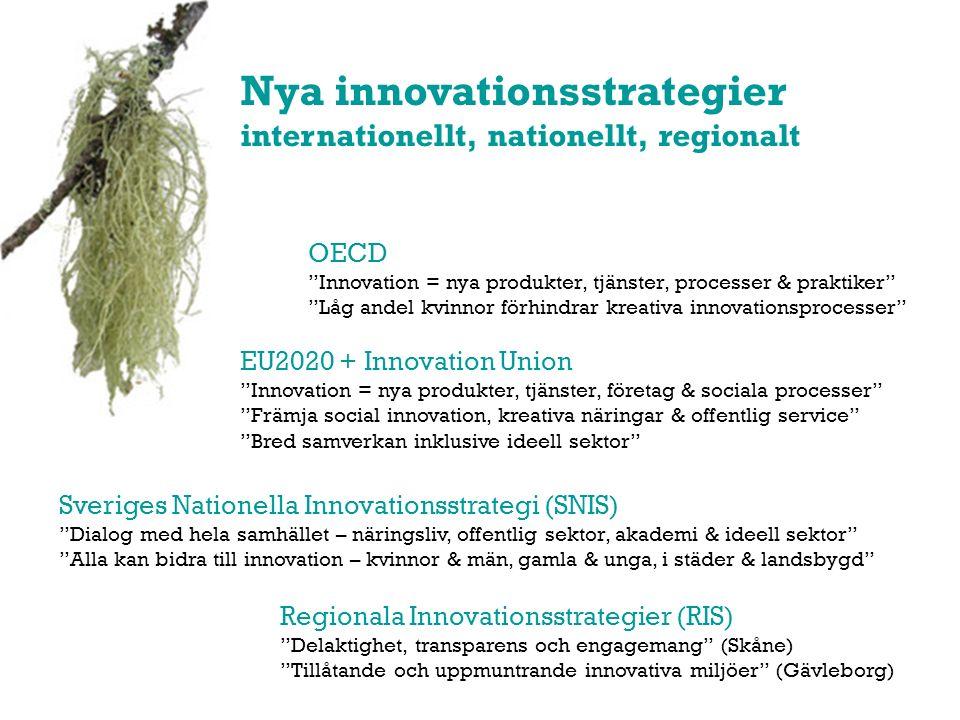 Nya innovationsstrategier internationellt, nationellt, regionalt OECD Innovation = nya produkter, tjänster, processer & praktiker Låg andel kvinnor förhindrar kreativa innovationsprocesser Sveriges Nationella Innovationsstrategi (SNIS) Dialog med hela samhället – näringsliv, offentlig sektor, akademi & ideell sektor Alla kan bidra till innovation – kvinnor & män, gamla & unga, i städer & landsbygd Regionala Innovationsstrategier (RIS) Delaktighet, transparens och engagemang (Skåne) Tillåtande och uppmuntrande innovativa miljöer (Gävleborg) EU2020 + Innovation Union Innovation = nya produkter, tjänster, företag & sociala processer Främja social innovation, kreativa näringar & offentlig service Bred samverkan inklusive ideell sektor
