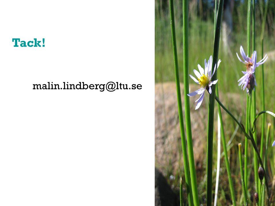 Tack! malin.lindberg@ltu.se