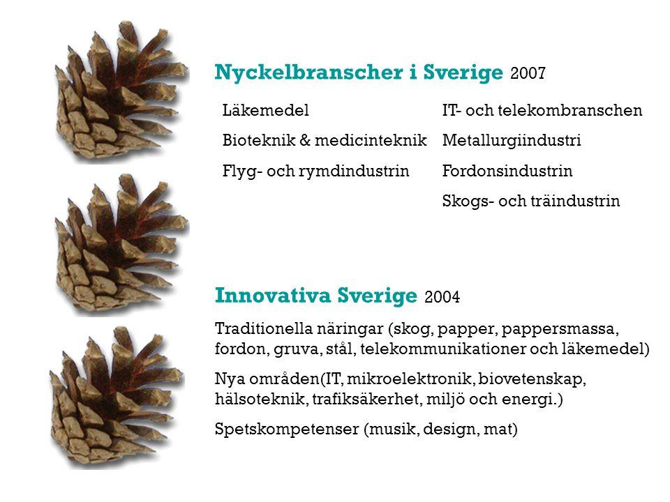 Innovativa Sverige 2004 Traditionella näringar (skog, papper, pappersmassa, fordon, gruva, stål, telekommunikationer och läkemedel) Nya områden(IT, mikroelektronik, biovetenskap, hälsoteknik, trafiksäkerhet, miljö och energi.) Spetskompetenser (musik, design, mat) Läkemedel Bioteknik & medicinteknik Flyg- och rymdindustrin IT- och telekombranschen Metallurgiindustri Fordonsindustrin Skogs- och träindustrin Nyckelbranscher i Sverige 2007
