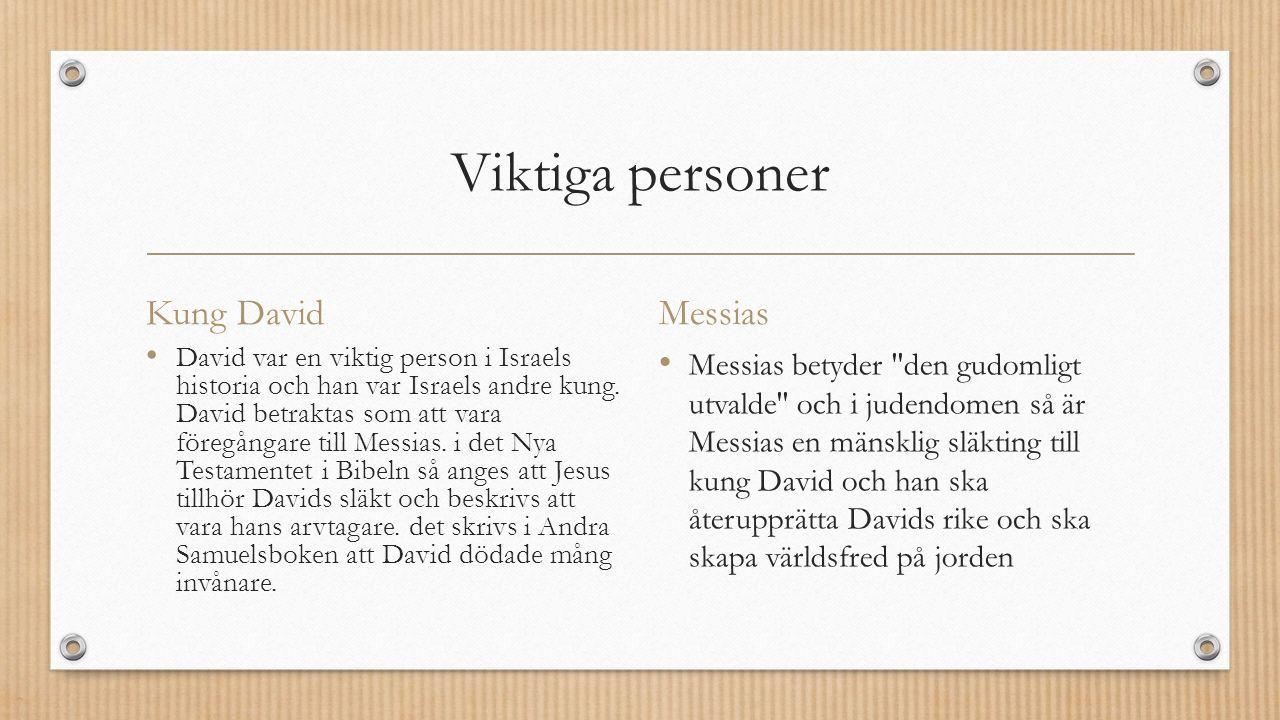 Viktiga personer Kung David David var en viktig person i Israels historia och han var Israels andre kung.
