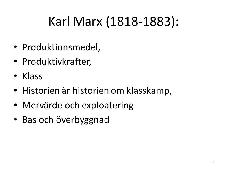 Karl Marx (1818-1883): Produktionsmedel, Produktivkrafter, Klass Historien är historien om klasskamp, Mervärde och exploatering Bas och överbyggnad 10