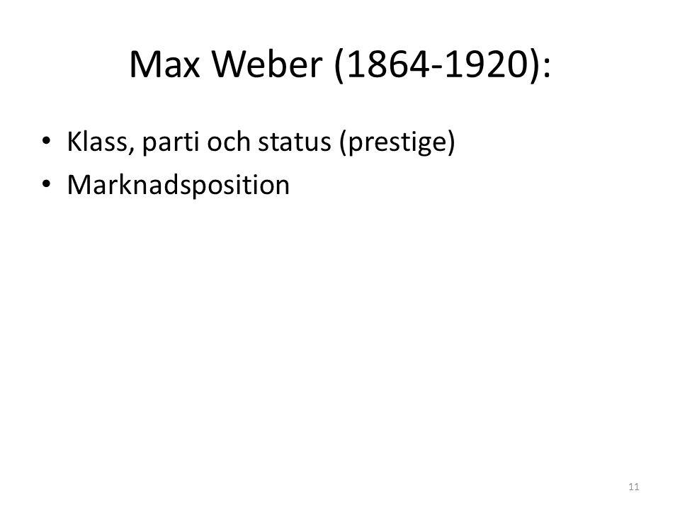 Max Weber (1864-1920): Klass, parti och status (prestige) Marknadsposition 11