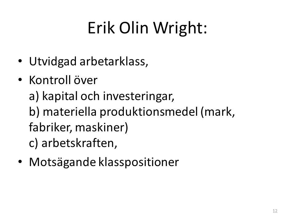 Erik Olin Wright: Utvidgad arbetarklass, Kontroll över a) kapital och investeringar, b) materiella produktionsmedel (mark, fabriker, maskiner) c) arbetskraften, Motsägande klasspositioner 12