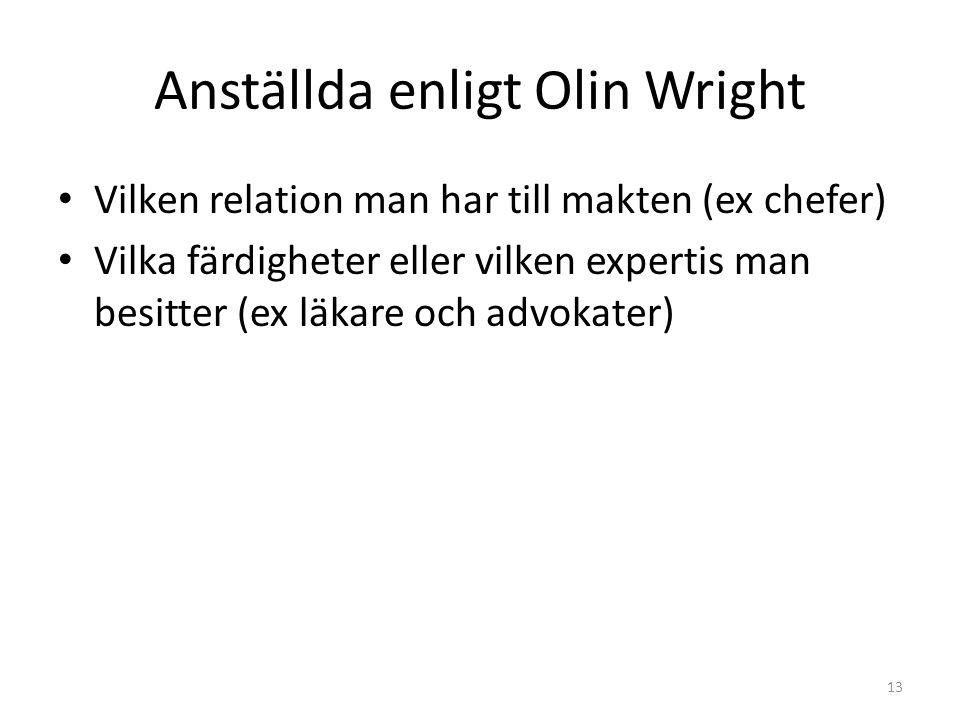 Anställda enligt Olin Wright Vilken relation man har till makten (ex chefer) Vilka färdigheter eller vilken expertis man besitter (ex läkare och advokater) 13
