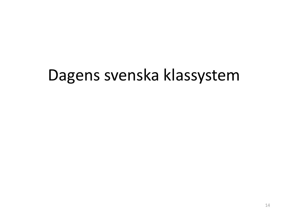 Dagens svenska klassystem 14