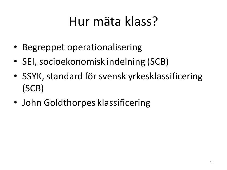 Hur mäta klass? Begreppet operationalisering SEI, socioekonomisk indelning (SCB) SSYK, standard för svensk yrkesklassificering (SCB) John Goldthorpes