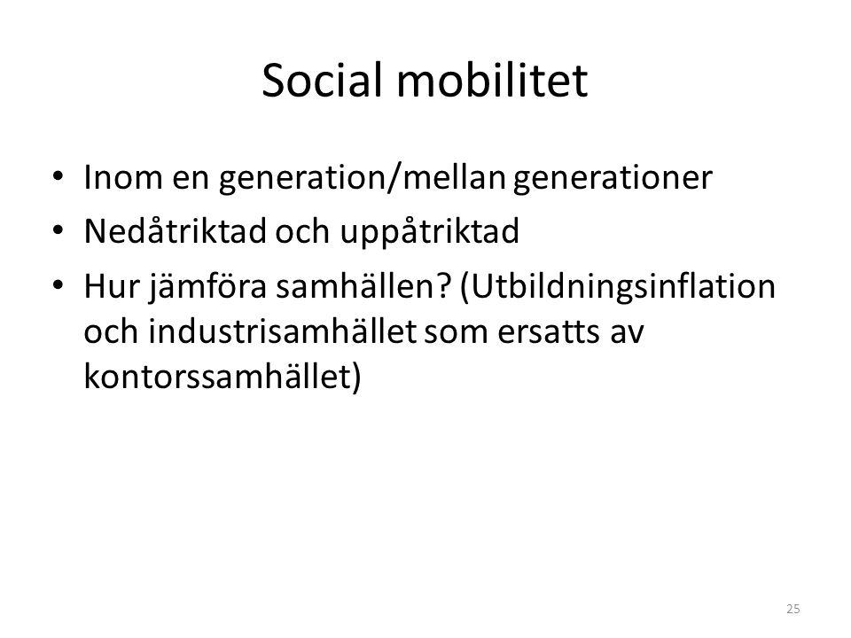 Social mobilitet Inom en generation/mellan generationer Nedåtriktad och uppåtriktad Hur jämföra samhällen? (Utbildningsinflation och industrisamhället