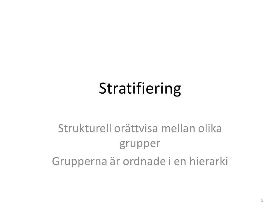 Stratifiering Strukturell orättvisa mellan olika grupper Grupperna är ordnade i en hierarki 5