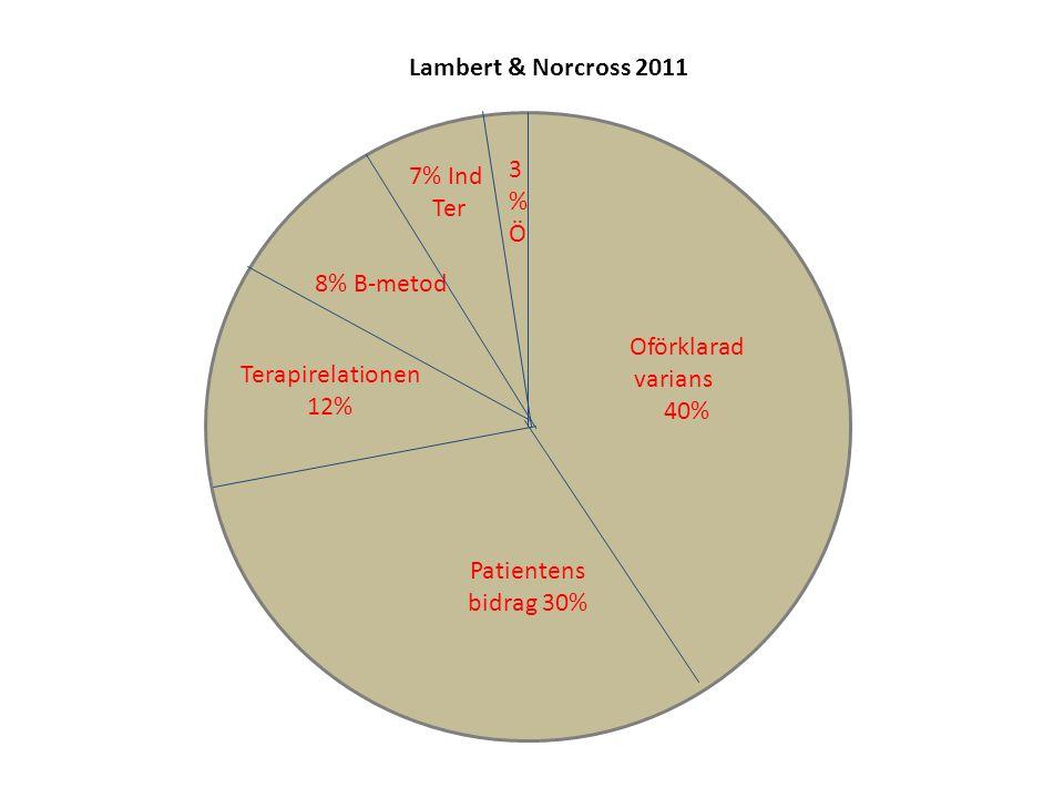 8% B-metod Oförklarad varians 40% Patientens bidrag 30% Terapirelationen 12% 7% Ind Ter 3%Ö3%Ö Lambert & Norcross 2011