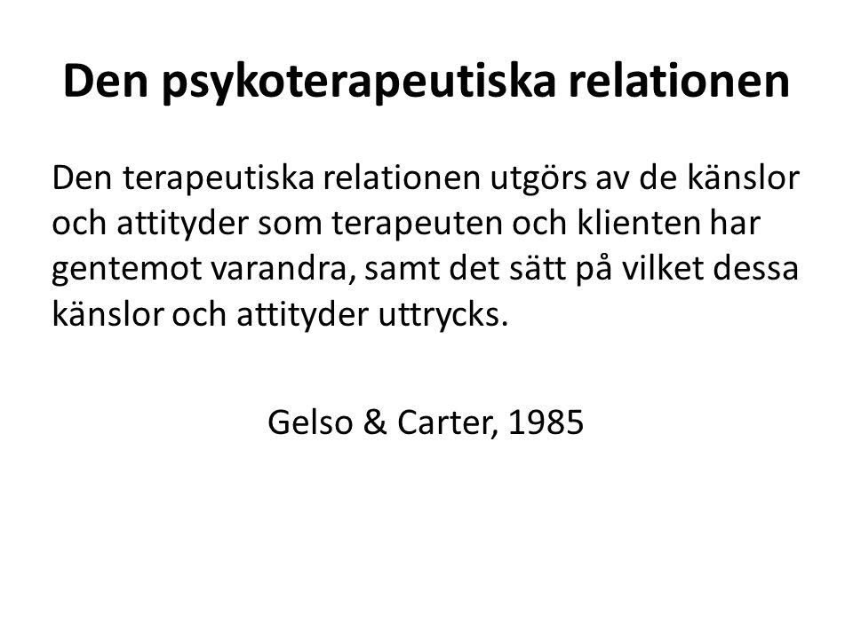 Den psykoterapeutiska relationen Den terapeutiska relationen utgörs av de känslor och attityder som terapeuten och klienten har gentemot varandra, samt det sätt på vilket dessa känslor och attityder uttrycks.