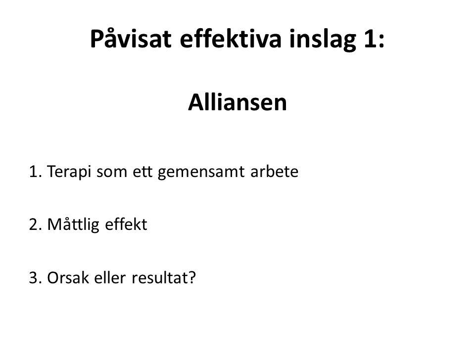 Påvisat effektiva inslag 1: Alliansen 1. Terapi som ett gemensamt arbete 2.