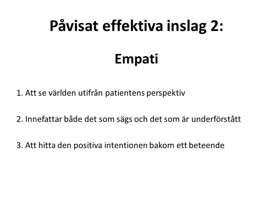 Påvisat effektiva inslag 2: Empati 1. Att se världen utifrån patientens perspektiv 2.