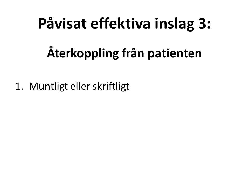 Påvisat effektiva inslag 3: Återkoppling från patienten 1.Muntligt eller skriftligt