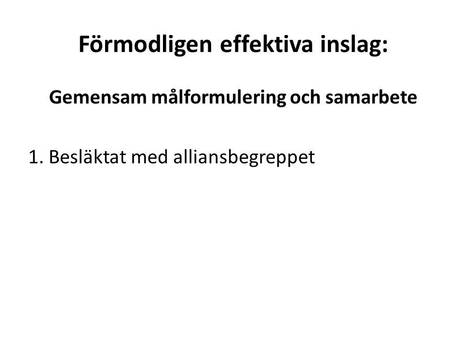 Förmodligen effektiva inslag: Gemensam målformulering och samarbete 1.