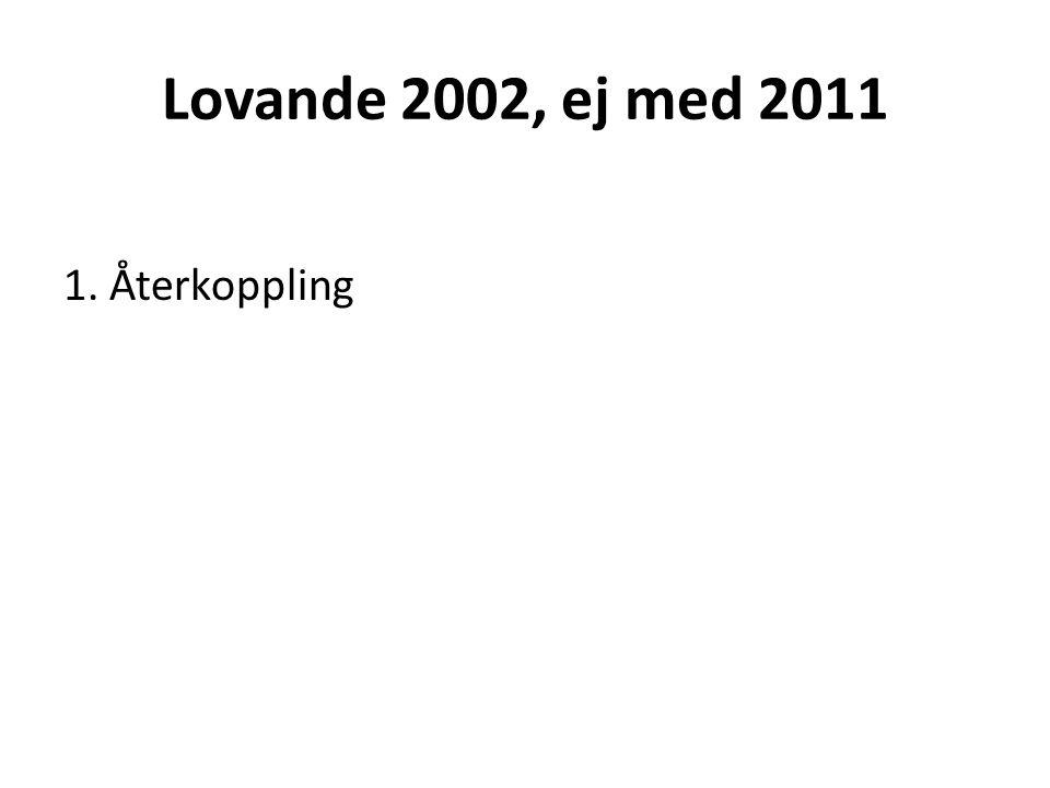 Lovande 2002, ej med 2011 1. Återkoppling