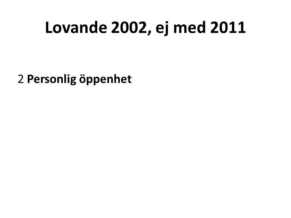 Lovande 2002, ej med 2011 2 Personlig öppenhet
