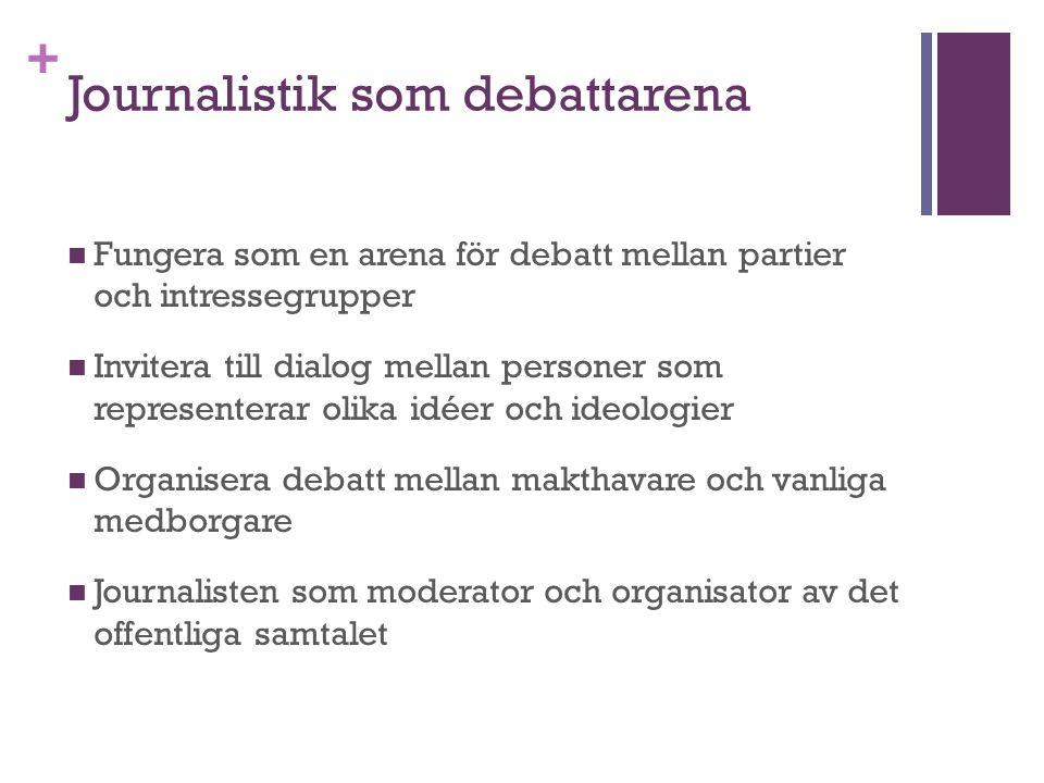 + Journalistik som debattarena Fungera som en arena för debatt mellan partier och intressegrupper Invitera till dialog mellan personer som representerar olika idéer och ideologier Organisera debatt mellan makthavare och vanliga medborgare Journalisten som moderator och organisator av det offentliga samtalet