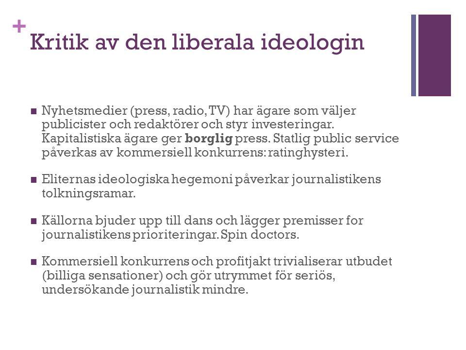 + Kritik av den liberala ideologin Nyhetsmedier (press, radio, TV) har ägare som väljer publicister och redaktörer och styr investeringar.