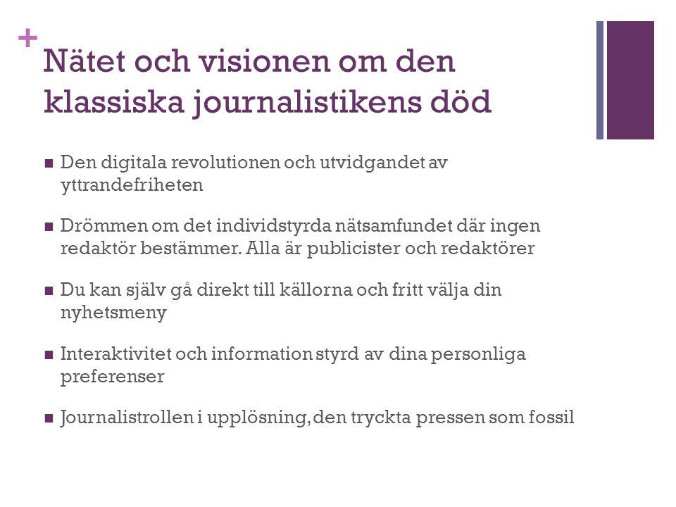 + Nätet och visionen om den klassiska journalistikens död Den digitala revolutionen och utvidgandet av yttrandefriheten Drömmen om det individstyrda nätsamfundet där ingen redaktör bestämmer.