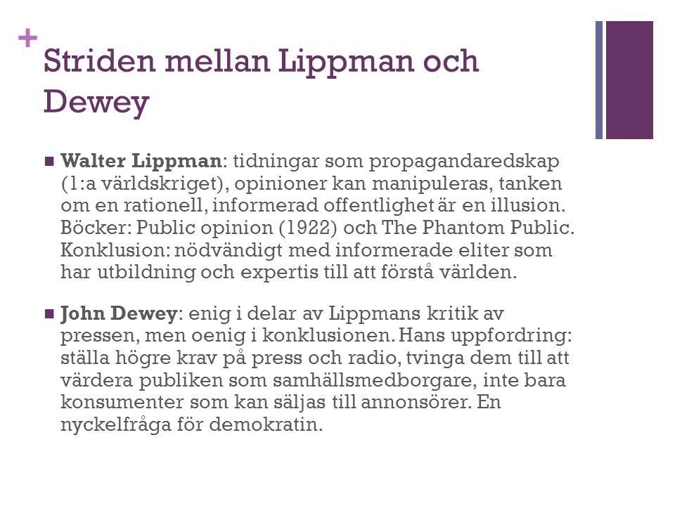 + Striden mellan Lippman och Dewey Walter Lippman: tidningar som propagandaredskap (1:a världskriget), opinioner kan manipuleras, tanken om en rationell, informerad offentlighet är en illusion.